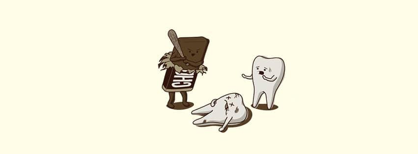 Une petite couverture Facebook humoristique sur le chocolat et les dents qui  peuvent prendre chère en cas d'excès, en tout cas...