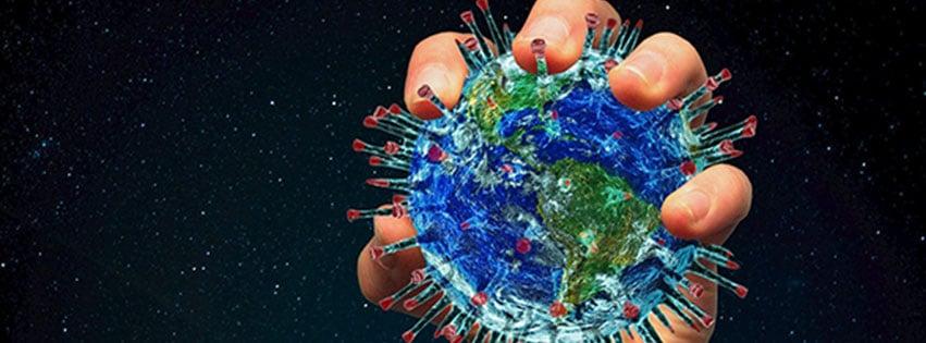 Une couverture facebook avec la plnète prise en otage par le virus covid 19 ou autrement nommé coronavirus c'est l'illustration...