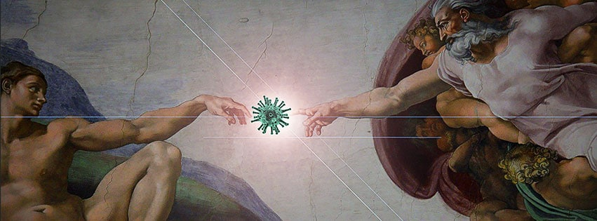 Tout le monde peut-être toutché par le virus, dans cette couverture facebook covid-19 même la fresque de Michel-Ange en témoigne..